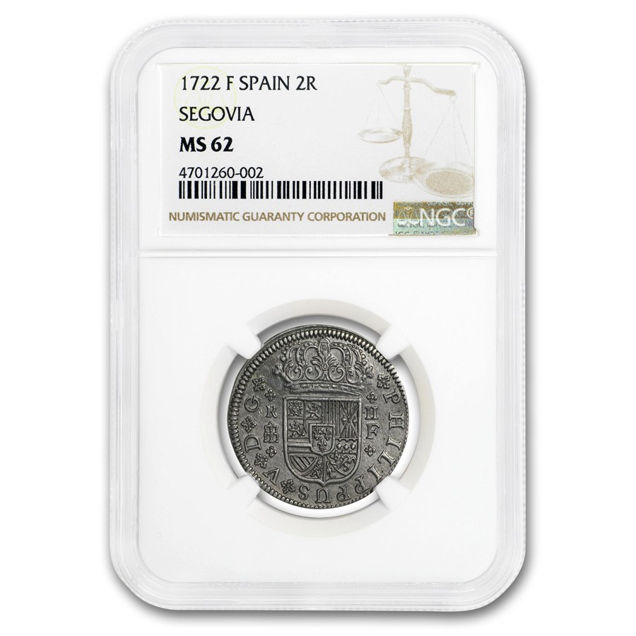 1722 Spain Silver 2 Reales Phillip V MS-62 NGC