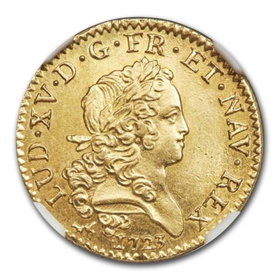 1723-A France Gold Louis D'or MS-63+ NGC (Le Chameau type)