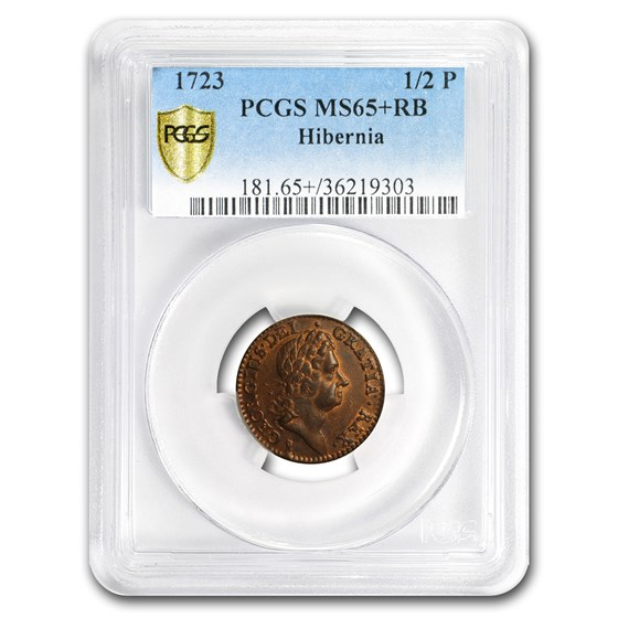 1723 Wood's Hibernia Halfpenny MS-65+ PCGS (Red/Brown)