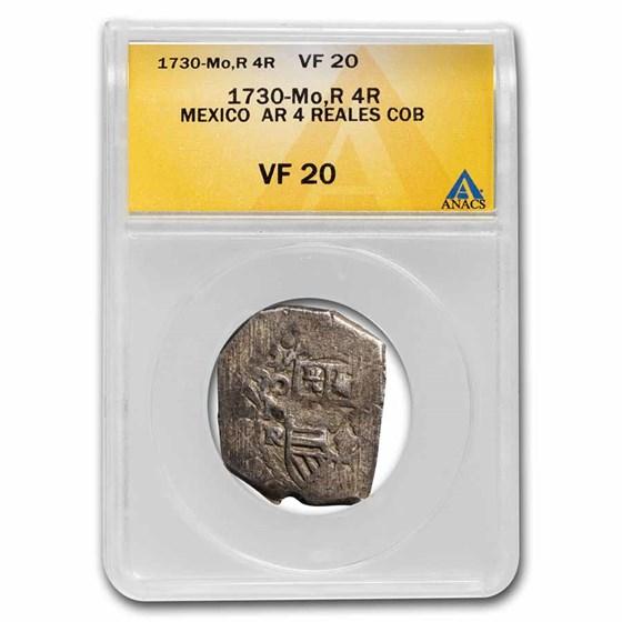 1730-Mo R Mexico Silver 4 Reales VF-20 ANACS