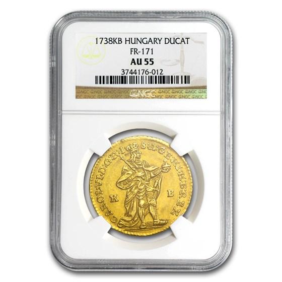 1738 Hungary Gold Ducat Charles VI AU-55 NGC