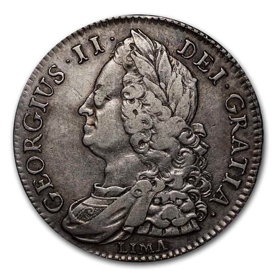 1745-LIMA Great Britain Silver Halfcrown George II XF