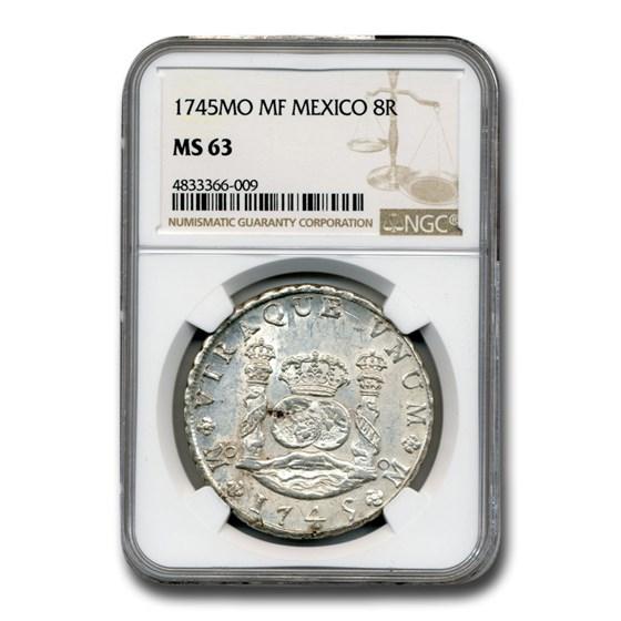 1745 MO MF Mexico Silver 8 Reales Pillar Dollar MS-63 NGC