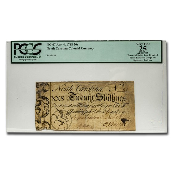 1748 20 Shillings North Carolina Currency 4/4/1748 VF-25 PCGS