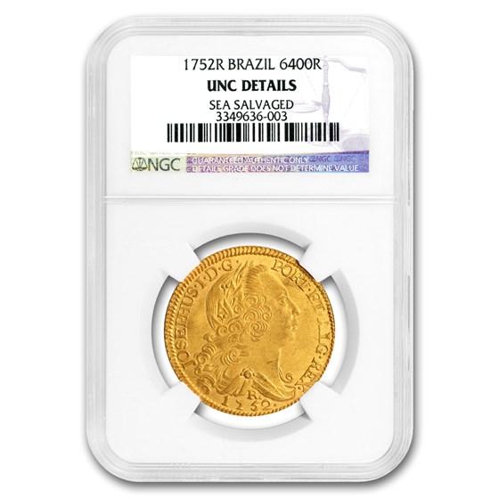 1752-R Brazil Gold 6400 Reis Joao V UNC Details NGC