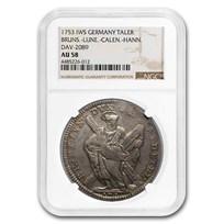 1753 German States Brun-Lune-Calen-Hann Silver Thaler AU-58 NGC