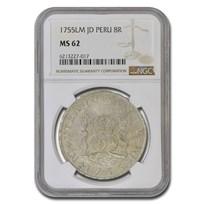 1755 LM-JD Peru Silver 8 Reales MS-62 NGC