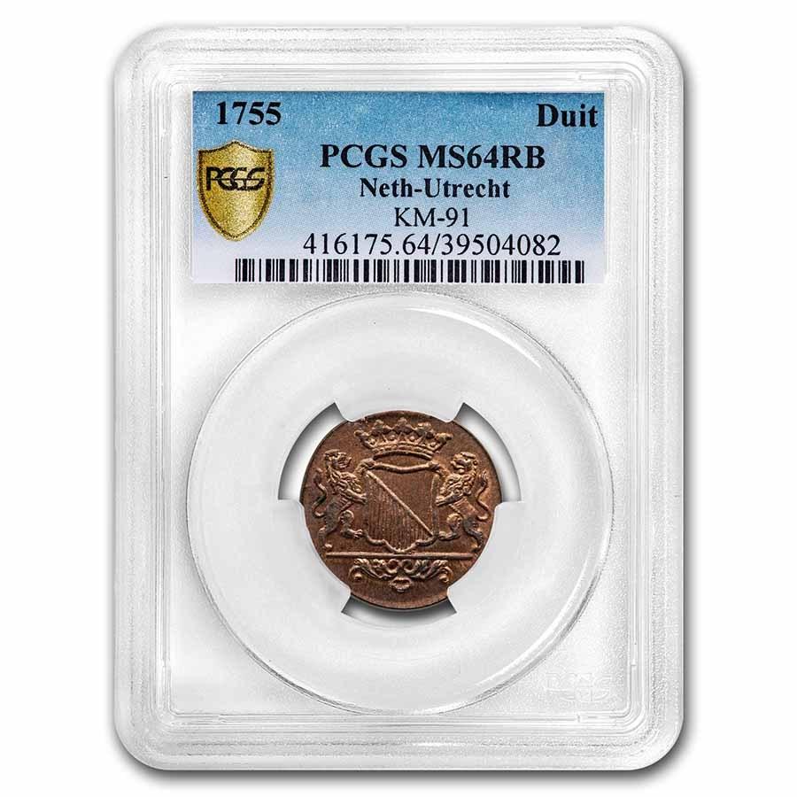 1755 Netherlands Utrecht Copper Duit MS-64 PCGS (Red/Brown)