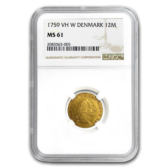 1759 VH W Denmark Gold 12 Mark Frederik V MS-61 NGC