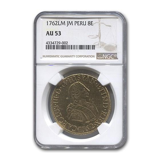 1762-LM JM Peru Gold 8 Escudos AU-53 NGC