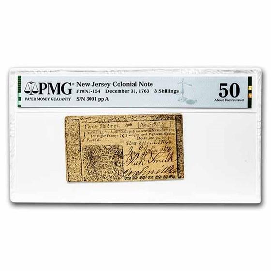 1763 3 Shillings New Jersey 12/31/63 AU-50 PMG (Fr#NJ-154)
