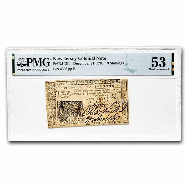 1763 3 Shillings New Jersey 12/31/63 AU-53 PMG (Fr#NJ-154)