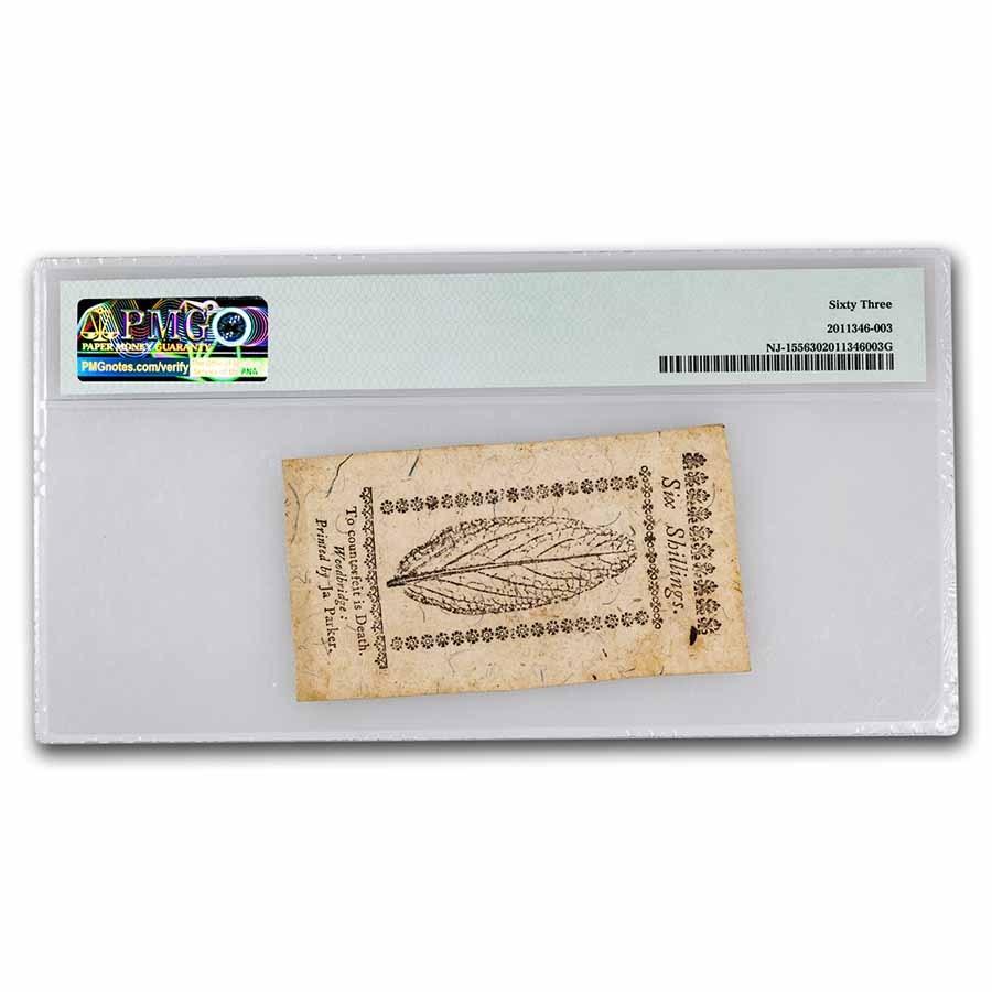 1763 6 Shilling New Jersey 12/31/63 CU-63 PMG (Fr#NJ-155)