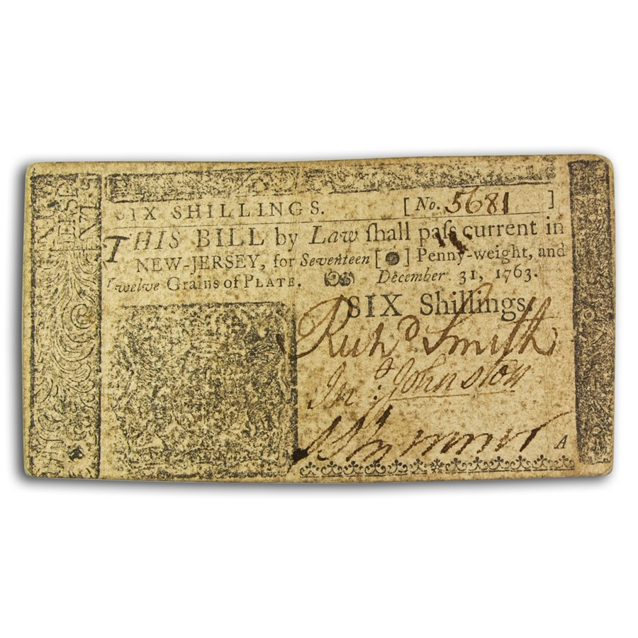 1763 6 Shilling New Jersey 12/31/63 XF (Fr#NJ-155)