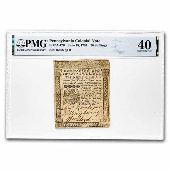 1764 20 Shillings Pennsylvania 6/18/1764 XF-40 PMG (Fr#PA-126)