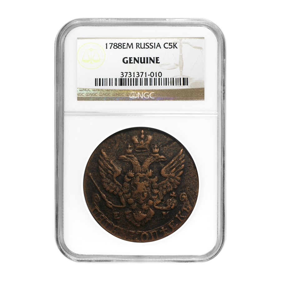 1767-96 Russia 5 Kopeks Catherine the Great Genuine NGC
