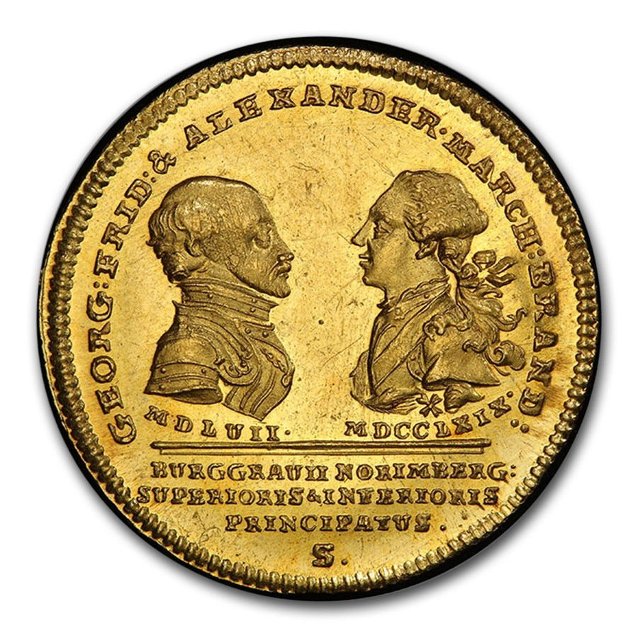 1769 German State Brandenburg-Ansbach Gold Ducat MS-63 PCGS