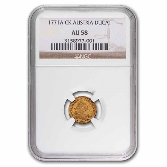 1771-A CK Austria Gold Ducat Joseph II AU-58 NGC