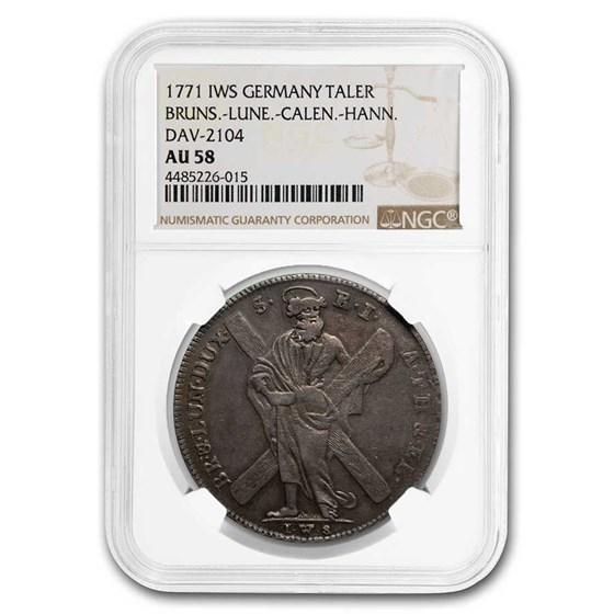 1771 German States Brun-Lune-Calen-Hann Silver Thaler AU-58 NGC