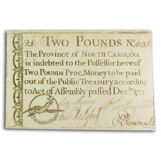 1771 Two Pounds North Carolina Dec 1771 AU (Fr#NC-141)