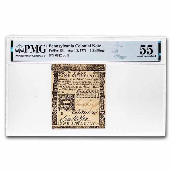 1772 1 Shillings Pennsylvania 4/3/1772 AU-55 PMG (Fr#PA-154)