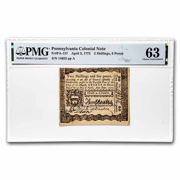1772 2 Shillings 6 Pence Penn. 4/3/1772 CH CU-63 PMG (Fr#PA-157)