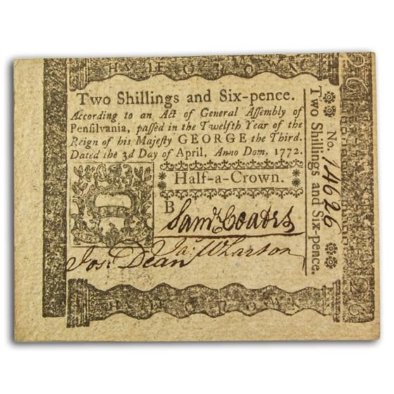 1772 2 Shillings 6 Pence Pennsylvania 4/3/1772 AU+ (Fr#PA-157)