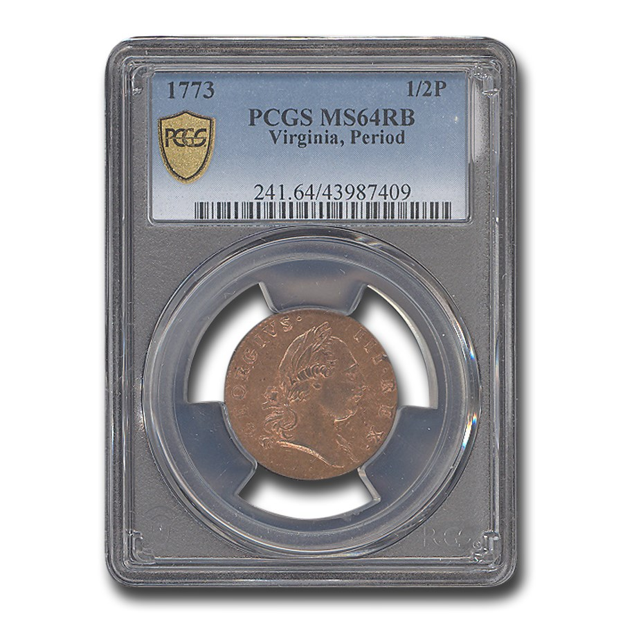 1773 Virginia Half Penny MS-64 PCGS (Red/Brown, Period)