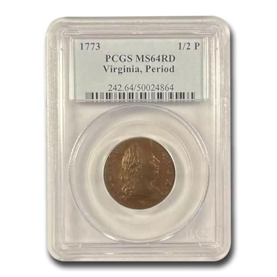 1773 Virginia Half Penny w/Period MS-64 PCGS (Red)