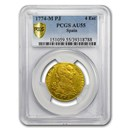 1774-M PJ Spain Gold 4 Escudos Charles III AU-55 PCGS