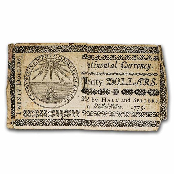 1775 $20 Continental Curr. 5/10/1775 VF (Fr#CC-9) Canceled w/Nail