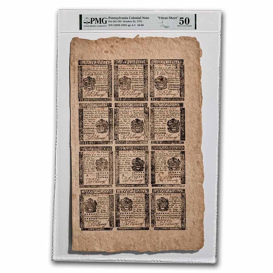 1775 3/4/6/9 Pence PA 10/25/1775 AU-50 PMG (Fr#PA-181-184)