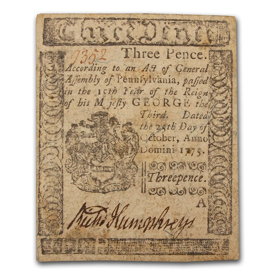 1775 3 Pence Pennsylvania 10/25/1775 XF (Fr#PA-181)