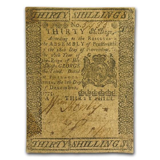 1775 30 Shillings Pennsylvania 12/8/1775 VF+ (Fr#PA-195)