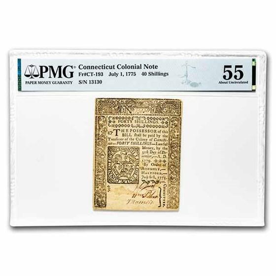 1775 40 Shillings Connecticut 7/1/1775 AU-55 PMG (Fr#CT-193)