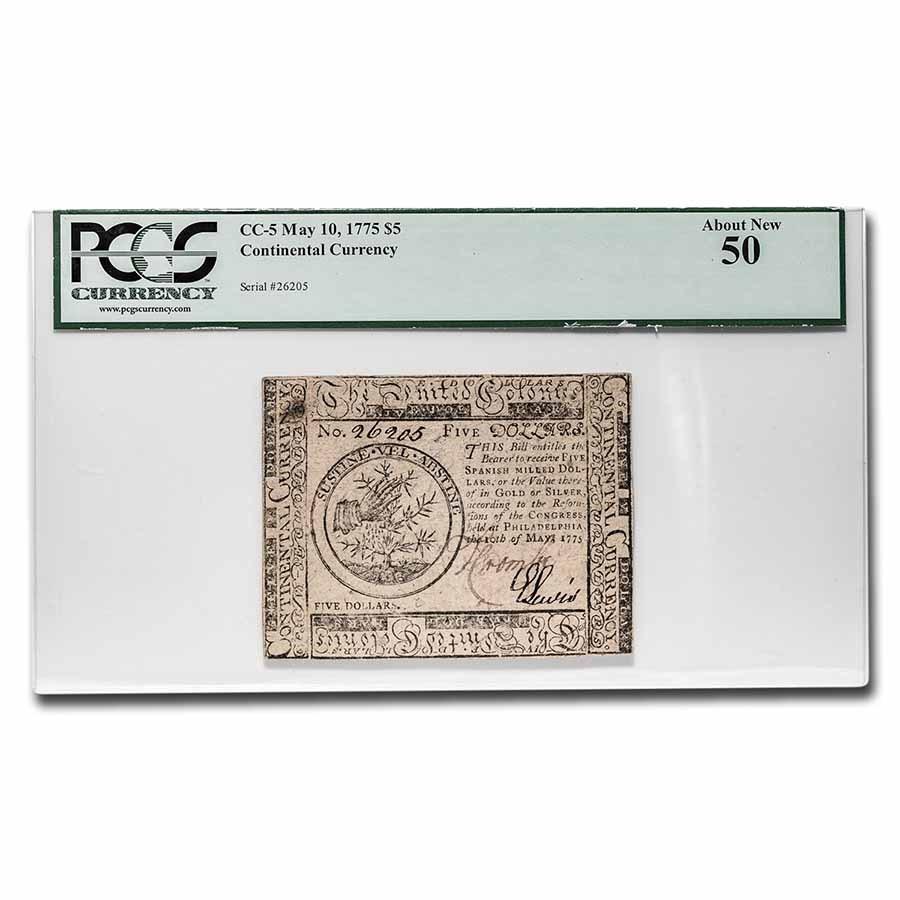 1775 $5 Continental Curr. 5/10/1775 AU-50 PCGS (Fr#CC-5)