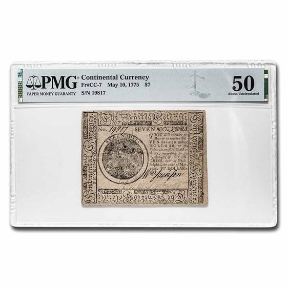1775 $7 Continental Curr. 5/10/75 AU-50 PMG (Fr#CC-7)