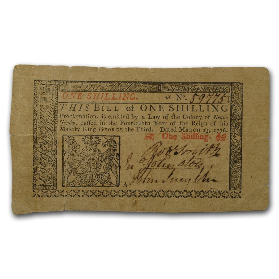 1776 1 Shilling New Jersey Currency 3/25/1776 XF+