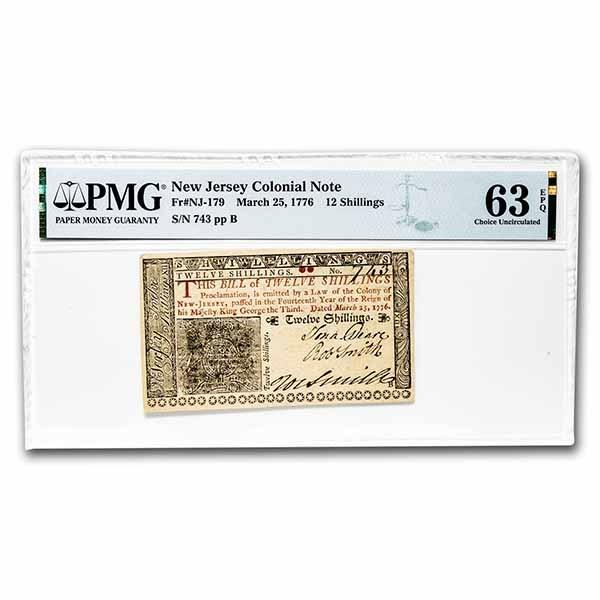 1776 12 Shillings NJ 3/25/1776 CH CU-63 EPQ PMG (Fr#NJ-179)