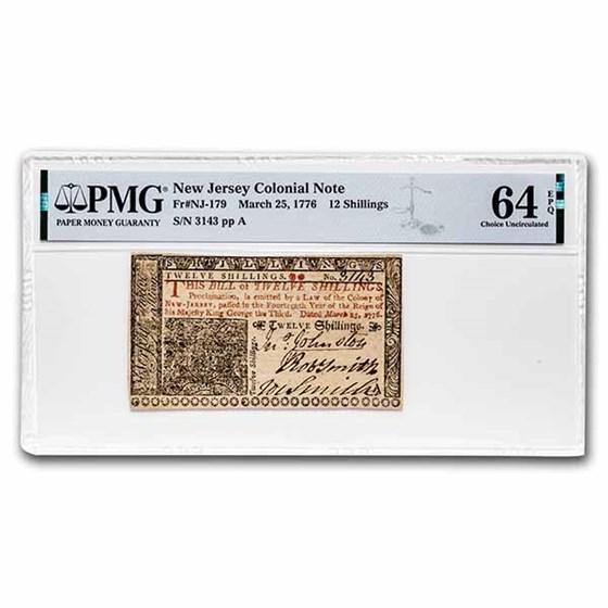 1776 12 Shillings NJ 3/25/1776 CH CU-64 EPQ PMG (Fr#NJ-179)