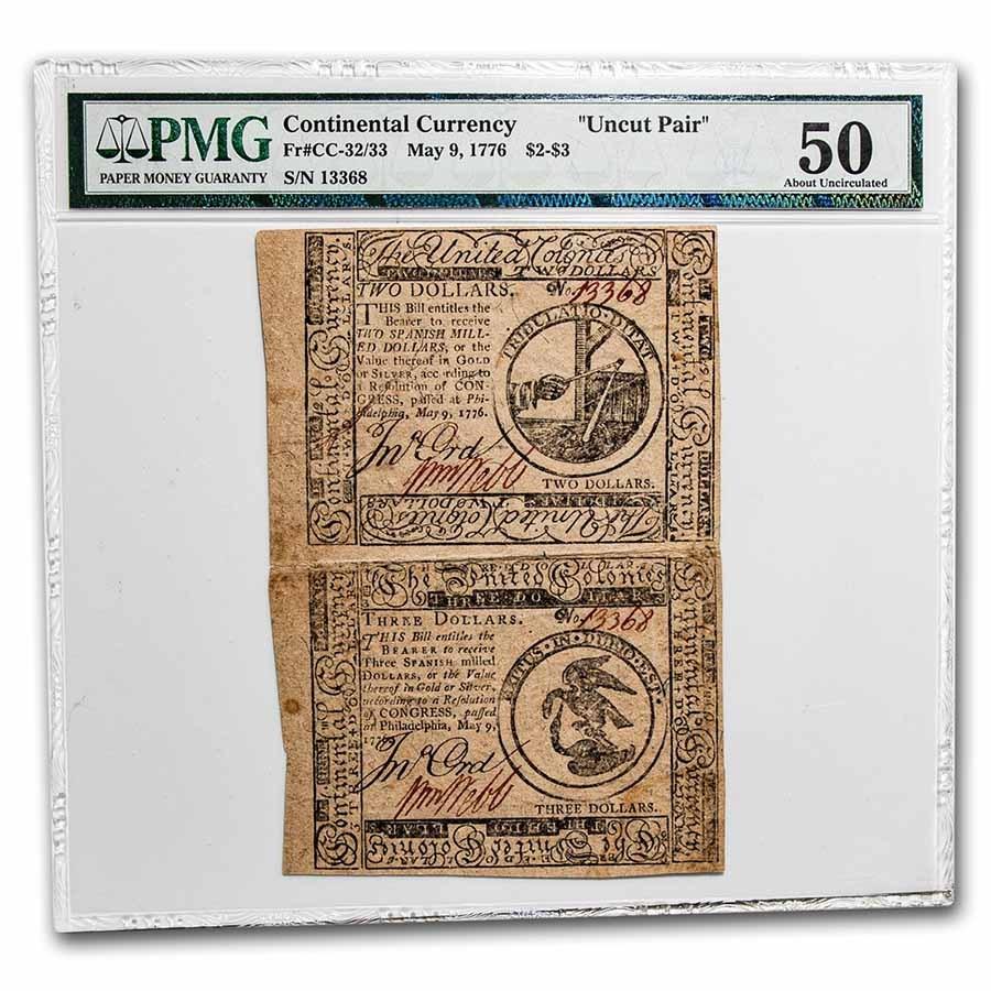 1776 $2-$3 Continental Uncut Pair 5/9/76 AU-50 PMG (Fr#CC-32/33)