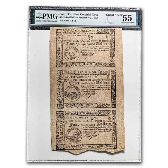 1776 $2-$4 SC Uncut Sheet 12/23/1776 AU-55 PMG (SC-136a-137-138a)