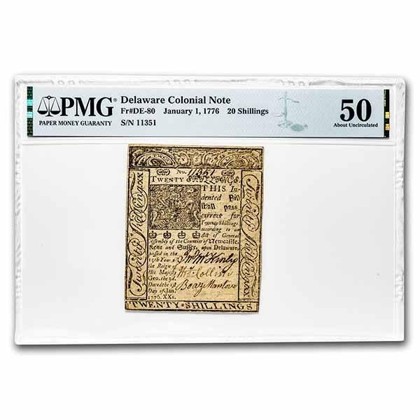 1776 20 Shillings Delaware 1/1/1776 AU-50 PMG (Fr#DE-80)