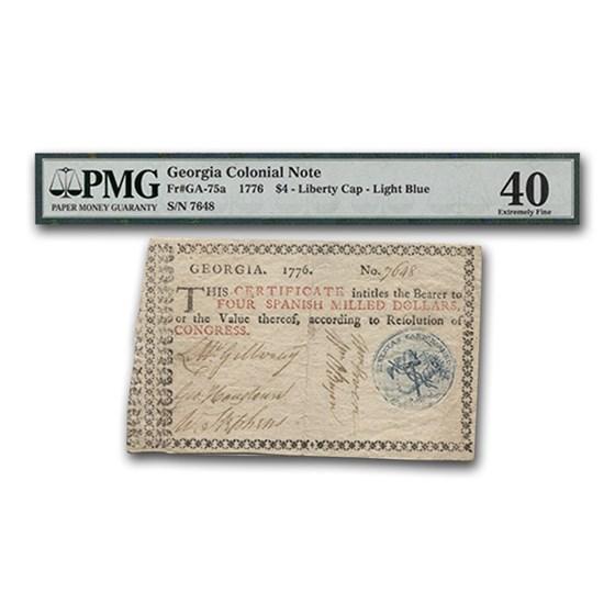 1776 $4 Georgia Currency XF-40 PMG