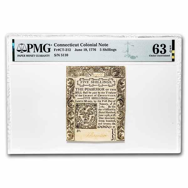 1776 5 Shillings Connecticut 6/19/1776 CU-63 EPQ PMG (Fr#CT-212)