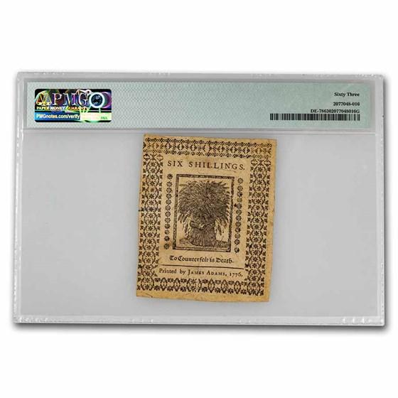1776 6 Shillings Delaware 1/1/1776 CH CU-63 PMG (Fr#DE-78)