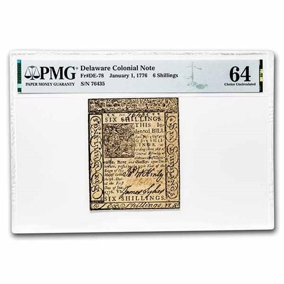 1776 6 Shillings Delaware 1/1/1776 CH CU-64 PMG (Fr#DE-78)