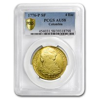1776 Colombia AV 4 Escudos Charles III AU-58 PCGS (Finest Known)