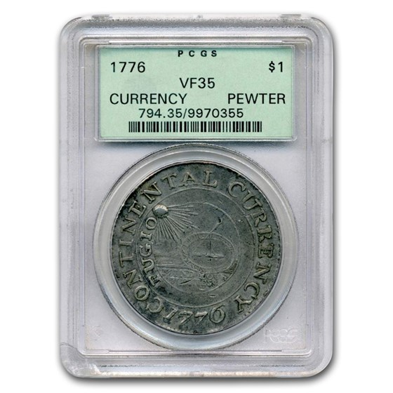 1776 Continental Currency Dollar VF-35 PCGS (Pewter)