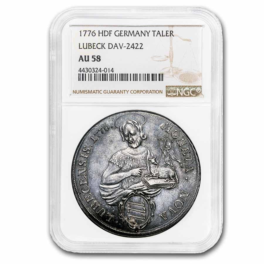 1776 German States Lubeck Silver Taler AU-58 NGC